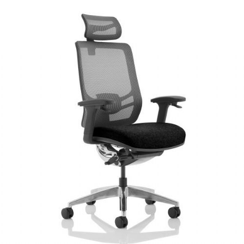 Ergo Click Black Fabric Seat and Mesh Office Chair With Headrest